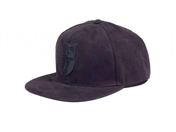 Zwarte Suede Uil Snapback Cap