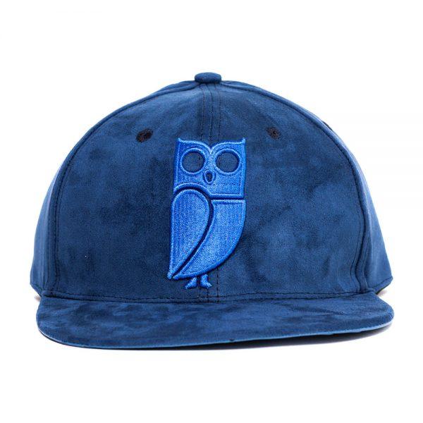 Blauw suede snapback cap. Uil. Beste kwaliteit. Veryus