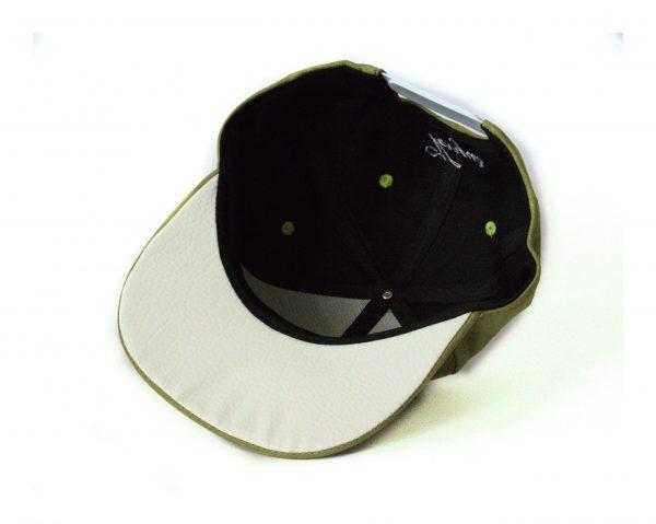 Olijfgroene Witte Suede Snapback Cap