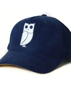 Blauwe navy blue baseball cap veryus suede kwaliteit owl uil eule
